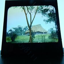 Colonial west africa large hut colour tinted magic lantern