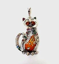 Kitty Cat Necklace Charm or Magnet Silver Plated Cat Pendant