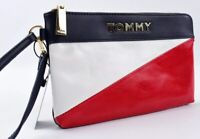 TOMMY HILFIGER Women's Faux Leather Clutch Wristlet Bag, Red/White/Blue