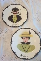 Vintage Kitchen Plates Portrait Lady Man Yellow Black Decorated Folk Art Wall