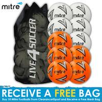 Mitre Impel 10 mix White/Orange Footballs Plus FREE Mesh Bag - New 2018 Design
