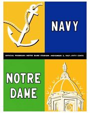 Notre Dame - Navy Poster of Game Program Cover 1957 - 8x10 Color Photo