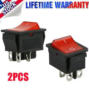 2x Rocker Switch DPST ON/OFF Toggle 16 Amp 250v 20 Amp 125v 4 Pin Ec-2604 US