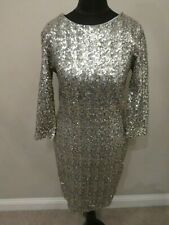 New⭐️ TFNC ⭐️ ASOS Black Gold & Silver Metallic Sequin Dress Size 12 M 40 ~Party