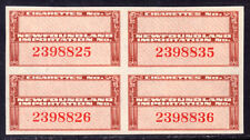 NEWFOUNDLAND REVENUE #TB51 RED BROWN BLOCK/4, 1945 CIGARETTE IMPORTATION
