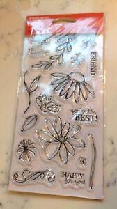 LOT#c NEW Fiskars clear 17pc daisy flowers leafs stem cardmaker scrapbook junk j
