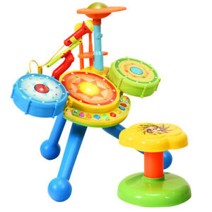 Kids Rock Band Drum Set Children Toddler Toy Musical w/ Microphone and Chair