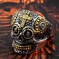 Biker Ring Fashion Gift For Men Size 7-14 Stainless Steel Skull Motorcycle