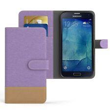 Tasche für Samsung Galaxy S5 / Neo Jeans Cover Handy Schutz Hülle Lila