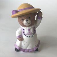 Vintage BC Bronson Teddy Bear Figurine Porcelain Bisque Fancy Hat Southern Charm