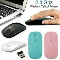 Slim 2.4GHz Optical Wireless Home Office Mouse With USB Receiver for Laptop PC ~