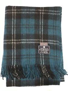 House of Balmoral Ramsey Blue Wool Rug Blanket Scottish Tartan Picnic Throw Rug