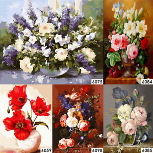 Painting By Numbers Kit DIY Color Flowers Canvas Oil Art Picture Home Wall Decor