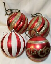 Lot of 4 Giant Oversized In/ Outdoor Red Gold Christmas Tree Ornaments Plastic