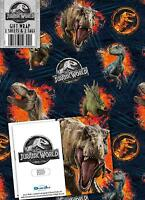 JURASSIC WORLD 2 SHEETS OF GIFT WRAP AND 2 GIFT TAGS JURASSIC PARK T-REX NEW