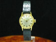 Gold Mantel / Edelstahl Handaufzug Damenuhr / Kaliber Bifora 691