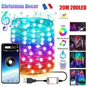 20M / 65.6ft Guirlande LED Décoration Sapin Noel App USB Fête Connectée Etanche