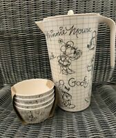 Disney Mickey, Minnie Mouse, Goofy, Donald Sketchbook Melamine Pitcher & 4 Bowls