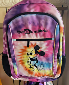 Walt Disney World Parks Mickey Rainbow Tie Dye TECH Backpack Bag USB NEW