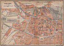 AMIENS antique town city plan de la ville. Somme carte. BAEDEKER 1905 old map
