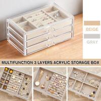 3 Layers Dustproof Transparent Acrylic Earrings Jewelry Storage Box Drawers  ⁂