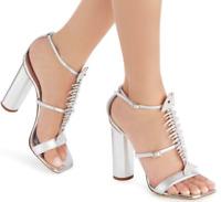 $1,250 New Box GIUSEPPE ZANOTTI sandals shoes FISHBONE SLIM FISH SILVER 38 7.5-7