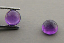 6mm MATCHING PAIR LOOSE ROUND CUT NATURAL UNTREATED CABOCHON PURPLE AMETHYST
