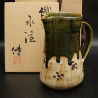 0808B Ken Matsuzaki Japanese Oribe ware pottery pitcher Jug with Box
