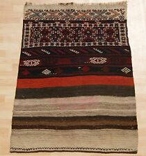 Decorator Rug Kurdish Kilim Handmade Multi Colored Rectangle Wool Area Rug 3X4ft