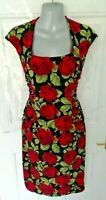 PHASE EIGHT Size 14 Black Pink Green Stretchy Occasion Dress Mosaic Style Ruched