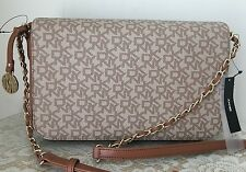 NWT DKNY coated PVC heritage khaki tan brown satchel purse bag messenger $165