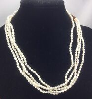 Vintage Style Necklace Pearl & Goldtone Freshwater Rice Multi Strand Box Clasp