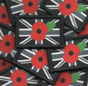 Poppy Union Jack Woven Badge Patch Flag Remembrance 4 x 2.7cm