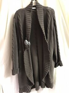 Lucia Long Brown Wool Cardigan Size 22