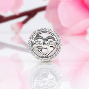 S925 Authentic Pandora Loving Ties Charm 792146CZ Sterling Silver Clear CZ Heart