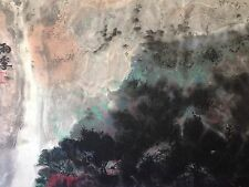 Amazing Summer Village w/Waterfall Ink Painting by Chinese Artist Yongqun Guo