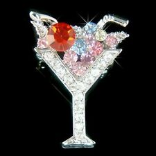 ~MARTINI Wine GLASS made with Swarovski Crystal Juicy CHERRY cocktail Pin Brooch