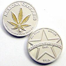 1/10th Troy Oz Pure .999 solid silver Gold Leaf  Mexican Cannabis Bullion Coin