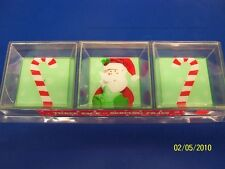 Santa Candy Cane Winter Christmas Holiday Party 3 Plastic Serving Snack Trays