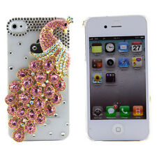 Apple iPhone 4 Cover Pink Transparent 3D Cute Peacock Jeweled Bling Plastic Case