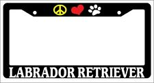 Black License Plate Frame Peace Love Paw Labrador Retriever Auto Accessory 445