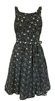 Monsoon black white floral embroidery anglais fit & flare dress Size UK 8