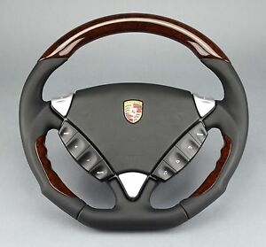 PORSCHE CAYENNE 955 957 DARK WALNUT BLACK LEATHER NEW PERFORMANCE STEERING WHEEL