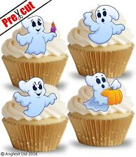 PRE-CUT CUTE GHOSTS EDIBLE WAFER PAPER CUP CAKE TOPPERS HALLOWEEN DECORATIONS