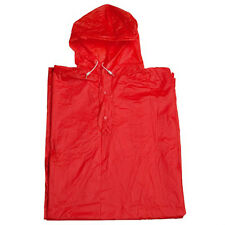 Unisex PVC Poncho with Hood Ideal for Festivals and Outdoor Events - Red