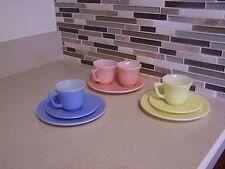 Vintage Pastel Milk Glass Demitasse Cup & Saucer Child Tea Party Service For 2