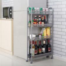 4 Tier Kitchen Trolley Cart Fruit Veg Storage Shelving Rack Holder Shelf w/Wheel