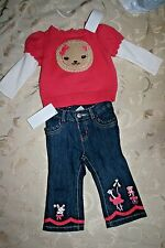 NWT Girls 6-12M GYMBOREE Pink Outfit w Blue Jeans Circus Lion