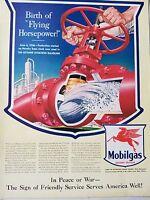 1943 Mobilgas Birth Of Flying Horsepower Octane Aviation Gasoline Original Ad