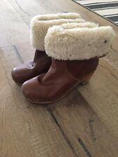 UGG Lynnea Brown Sherpa Pull-On Leather Clog Wood Heel Boots Women's US 6 37 EU